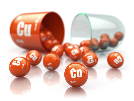 Capsule with copper CU element Dietary supplements. Vitamin pill. 3d illustration