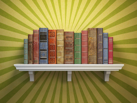 Old vintage books on shelf. Classic literature and education vintage concept. 3d illustration
