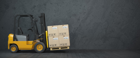 Forklift truck with cardboard boxes on  dirty wall background. 3d illustration Stock Photo