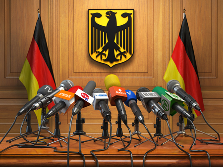 Press conference or briefing of president  or premier minister of Germany concept,. Podium speaker tribune with Germany flags and coat arms. 3d illustration