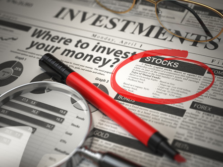 Stocks is the best option to invest. Where to Invest concept, Investmets newspaper with loupe and marker. 3d illustration