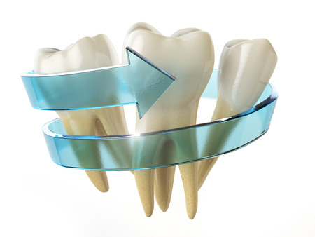 Tooth protection concept. Teeth with blue arrow isolated on white background. 3d illustration Stock Photo