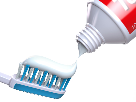 Toothbrush and tube of toothpaste. 3d illustration Stock Photo