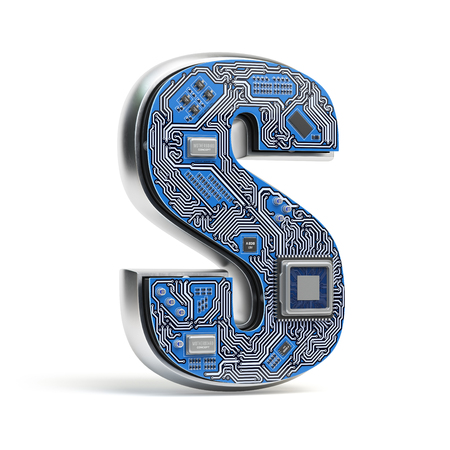 Letter S.  Alphabet in circuit board style. Digital hi-tech letter isolated on white. 3d illustration