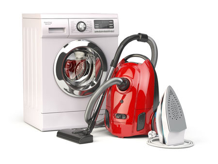 Home appliances. Group of vacuum cleaner,  iron and washing machine isolated on white background. 3d illustration Stock Photo