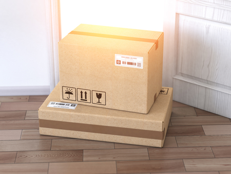 Delivery service concept.. Cardboard box front of entrance open door. 3d illustration 스톡 콘텐츠