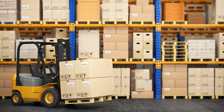 Forklift truck in storage warehouse. Fork lift lifting pallet with cardboard boxes. 3d illustration
