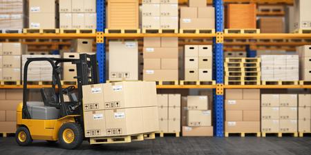 Carrello elevatore a forche in magazzino di stoccaggio. Pallet di sollevamento del carrello elevatore con scatole di cartone. illustrazione 3D