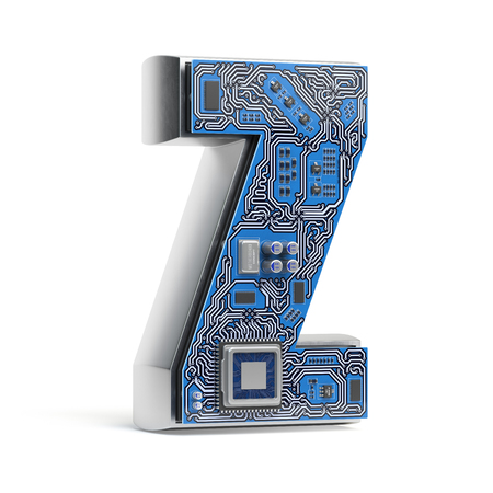 Letter Z.  Alphabet in circuit board style. Digital hi-tech letter isolated on white. 3d illustration Stock Photo