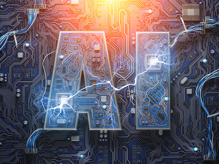 AI, Artificial Intelligence. Computer chips with CPU in form of text AI. 3d illustration