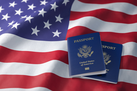 USA passport on the flag of the US United Stetes. Getting a USA passport,  naturalization and immigration concept. 3d illustration
