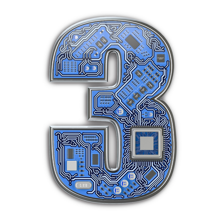 Number 3 three, Alphabet in circuit board style. Digital hi-tech letter isolated on white. 3d illustration Zdjęcie Seryjne