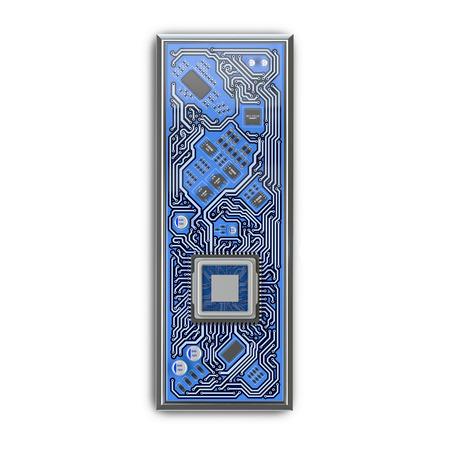 Letter I.  Alphabet in circuit board style. Digital hi-tech letter isolated on white. 3d illustration Banco de Imagens - 116035589