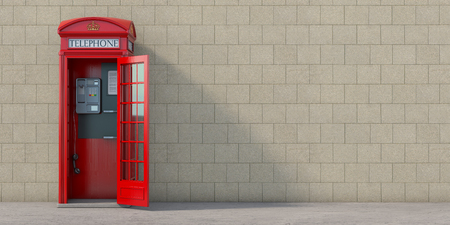 Red phone booth with hanging receiver on wall background. London, british and english symbol. Anonymous call concept. 3d illustration