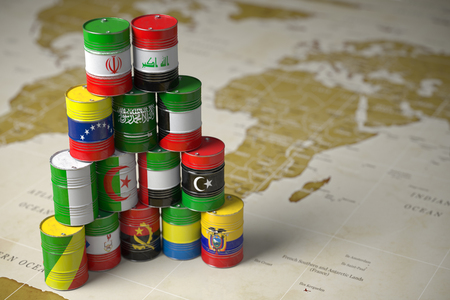 Oil barrels in color of flags of countries memebers the world political organisation map background. 3d illustration