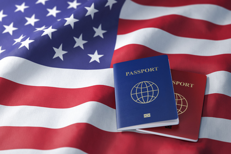 Passports on the flag of the US United Stetes. 3d illustration Stock Photo