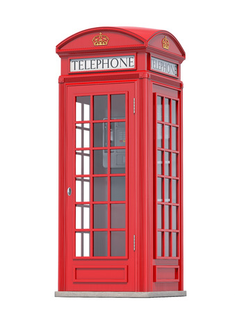 Red phone booth. Stock Photo
