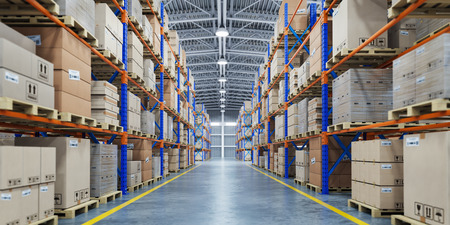 Warehouse or storage and shelves with cardboard boxes. Imagens