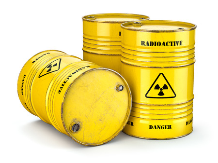 Barrels with radioactive waste isolated on white, Manufacturing of nuclear power and utilization of radioctive materials.