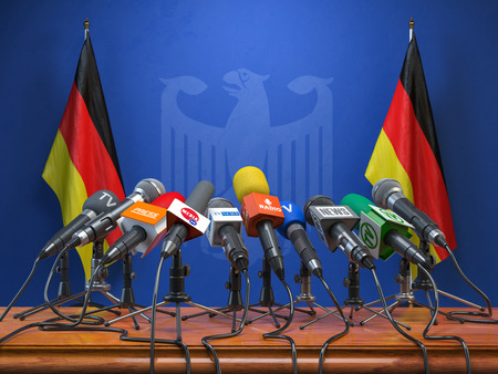 Press conference or briefing of premier minister of Germany concept. Banque d'images