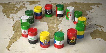 Oil barrels in color of flags of countries members of  world political map