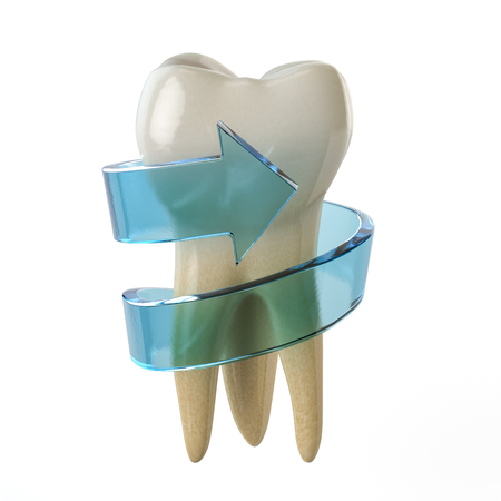 Tooth protection concept. Teeth with blue arrow isolated on white