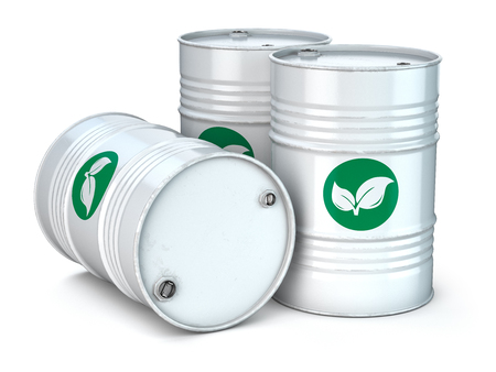 Bio fuel barrels isolated on white. Stock Photo