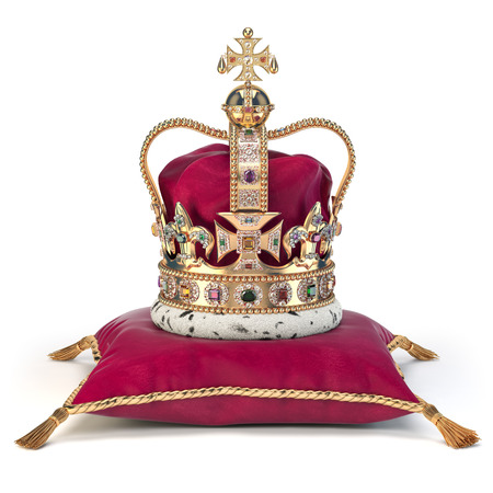 Golden crown on red velvet pillow for coronation. Royal symbol of british UK monarchy.  3d illustration