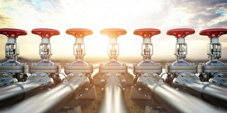 Zawory rurociągu naftowego lub gazowego. Wydobycie ropy i gazu, produkcja i transport przemysłowy