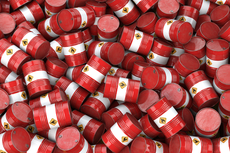 Red oil barrels. Oil and gas industry, storage, manufacturing. Stock Photo