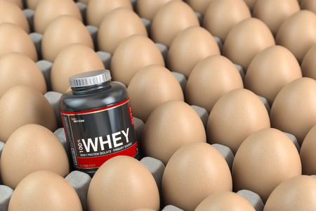 Sport nutrition and bodybuilding fitness supplements concept. Whey protein instead of carton box of eggs. 3d illustration