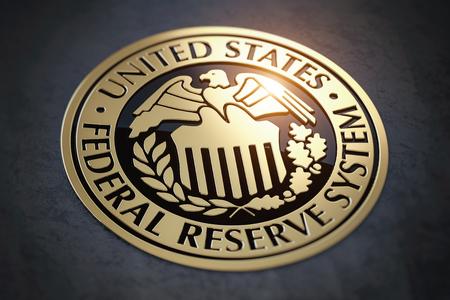 Simbolo della FED Federal Reserve degli Stati Uniti. illustrazione 3D