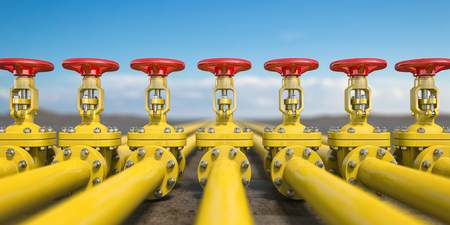 Yellow gas pipe line valves.