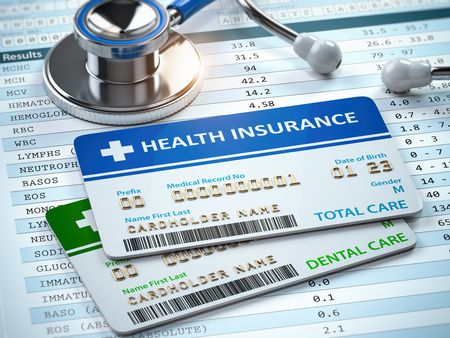 Health Insurance cards total and dental care with stethscope. 3d illustration