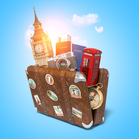 Trip to London, Great Britain.Vintage suitcase with symbols of UK London, Big Ben tower and red booth.