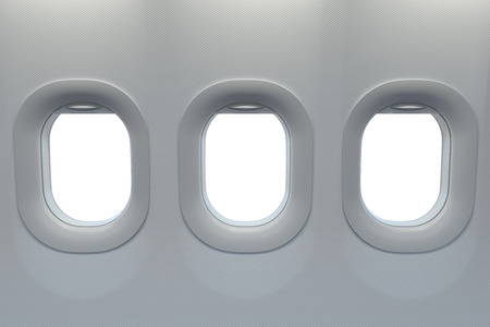 Airplane windows. Travel and tourism flight concept. Stock Photo