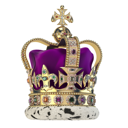 English golden crown with jewels isolated on white. Stock Photo