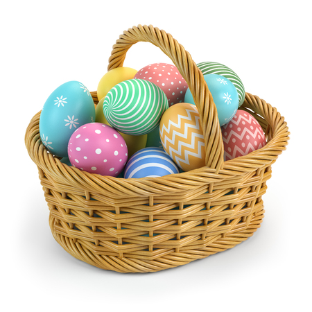 Easter eggs in a basket isolated on white. 3d illustration Stock Photo