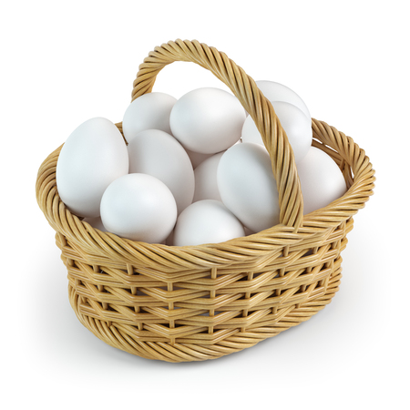 White eggs in basket isolated on white Stock Photo