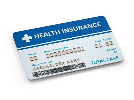 Health Insurance cards total and dental care  Isolated on white