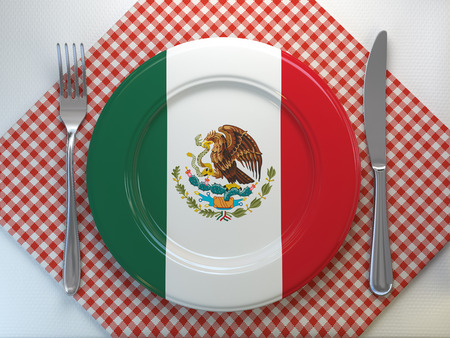 Mexican cuisine or mexican restaurant concept. Plate with flag of Mexico with knife and fork. 3d illustration Stock Photo