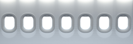 Airplane windows. Travel and tourism fliight concept. Space for text. 3d illustration Stock Photo