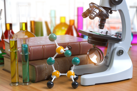 Microscope with alboratory equipmente flasks and vials. Chemistry, biotecnology education concept. 3d illustration