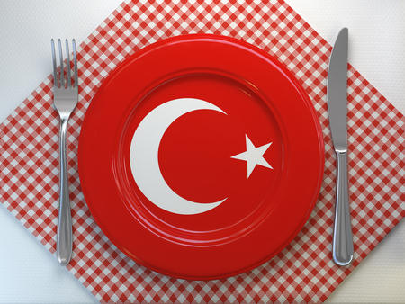 Turkish cuisine  or turkish restaurant concept. Plate with flag ofTurkey with knife and fork. 3d illustration