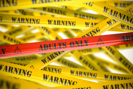 Adults only, yellow and red warning tapes with inscription. 3d illustration