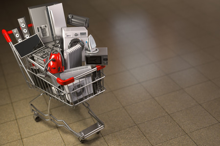 Household appliances in the shopping cart. E-commerce or online shopping concept. 3d illustration
