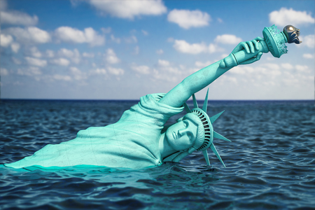 Destroyed Statue of liberty half covered by rising ocean level.  Apocalypse of USA, America and the end of civilization concept. 3d illustration