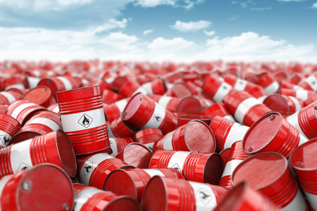 Red oil barrels. Oil and gas industry, storage, manufacturing. Chemical pollution and oil industry waste concept. 3d illustration