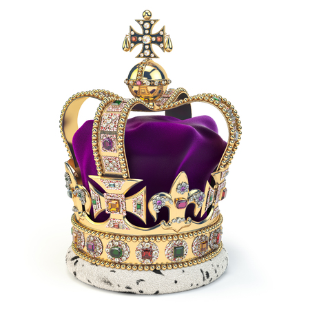 Golden crown with jewels isolated on white. English royal symbol of UK monarchy. 3d illustration