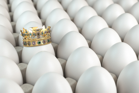 Trey with white eggs and one egg with crown. Indiciduality and best choice concept. 3d illustration Stock Photo